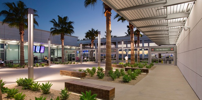 The Long Beach airport was completely modernized in late 2012, and is absolutely beautiful, from an airy outdoor security checkpoint, to its floor to ceiling windows, to the abundance of plant life and sunshine making its way into the terminal. This is just one image taken from HOK.com. Click the photo to see more information and photos on the recent upgrades.