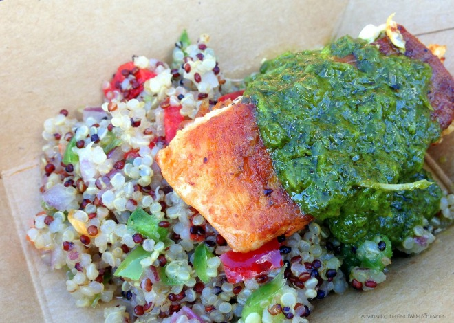 Patagonia's Roasted Verlasso Salmon with Quinoa Salad and Arugula Chimichurri. This one is a keeper for sure.