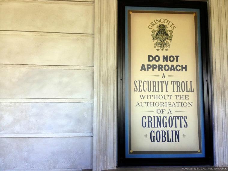 Gringotts Security Troll Sign
