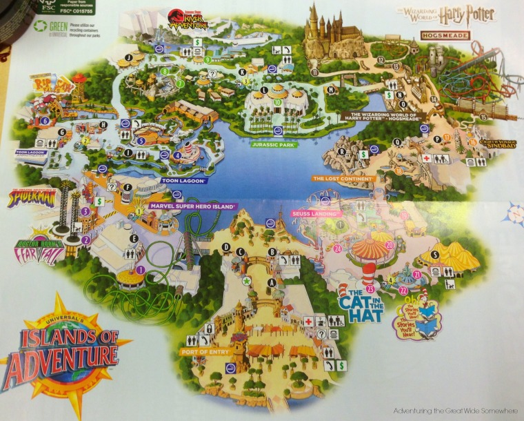 Islands of Adventure Park Map 2015