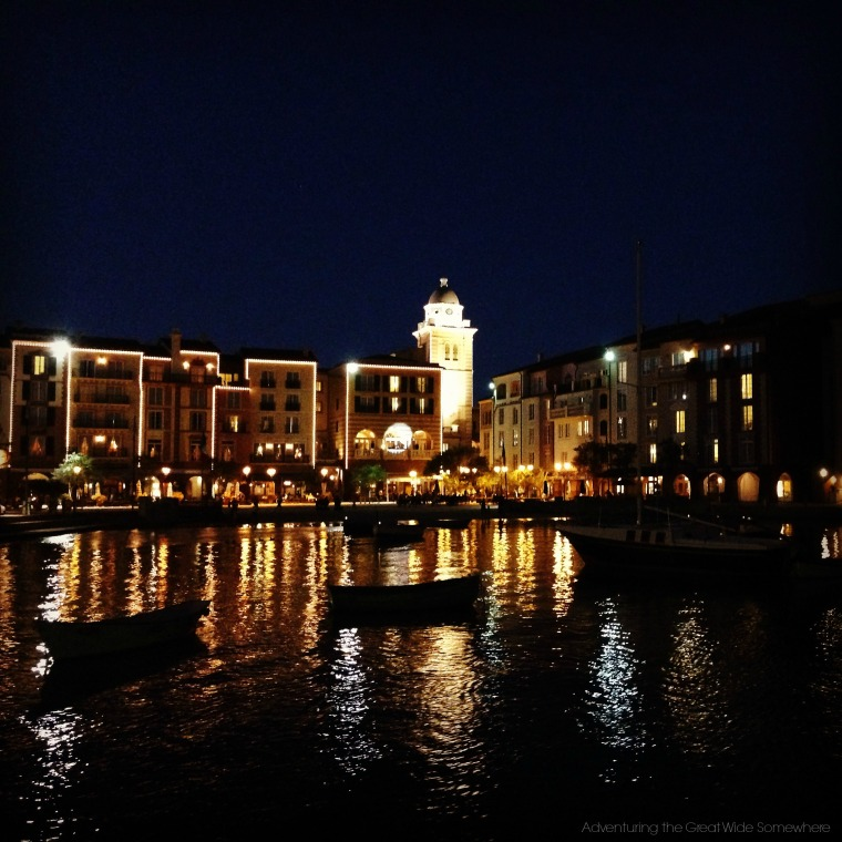 Loews Portofino Bay Lit Up for the Evening