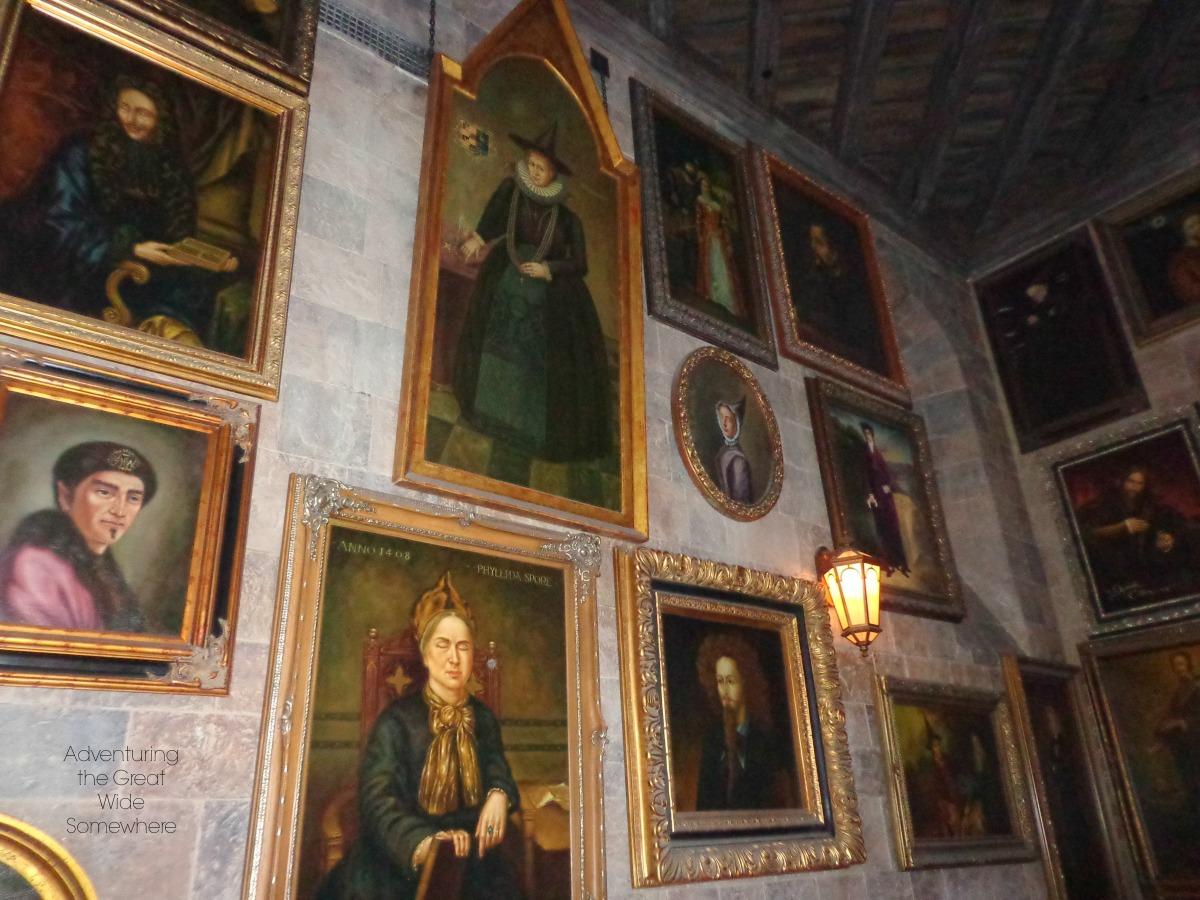 The interior of Hogwarts Castle in Orlando FL features moving portraits.