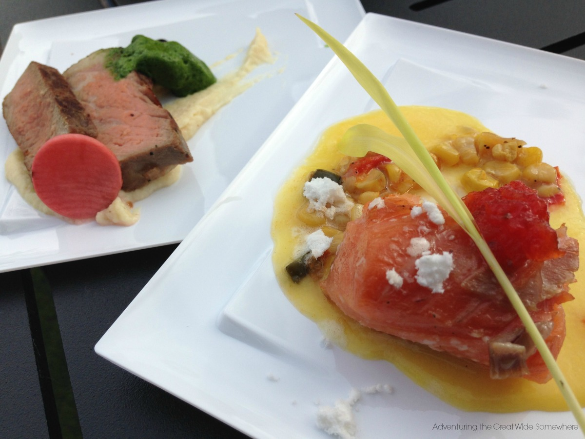 Food & Wine Festival Chew Lab Olive Oil Poached Salmon and New York Strip Steak