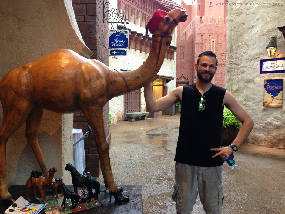 Jared with Habibi the Camel at Epcot's Morocco Pavilion