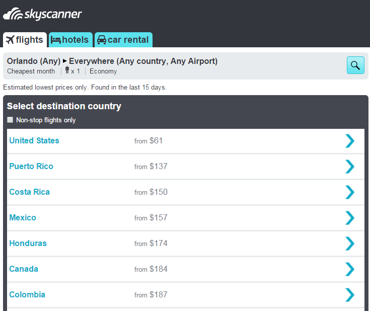 Skyscanner Sample Search to Everywhere, Cheapest Month