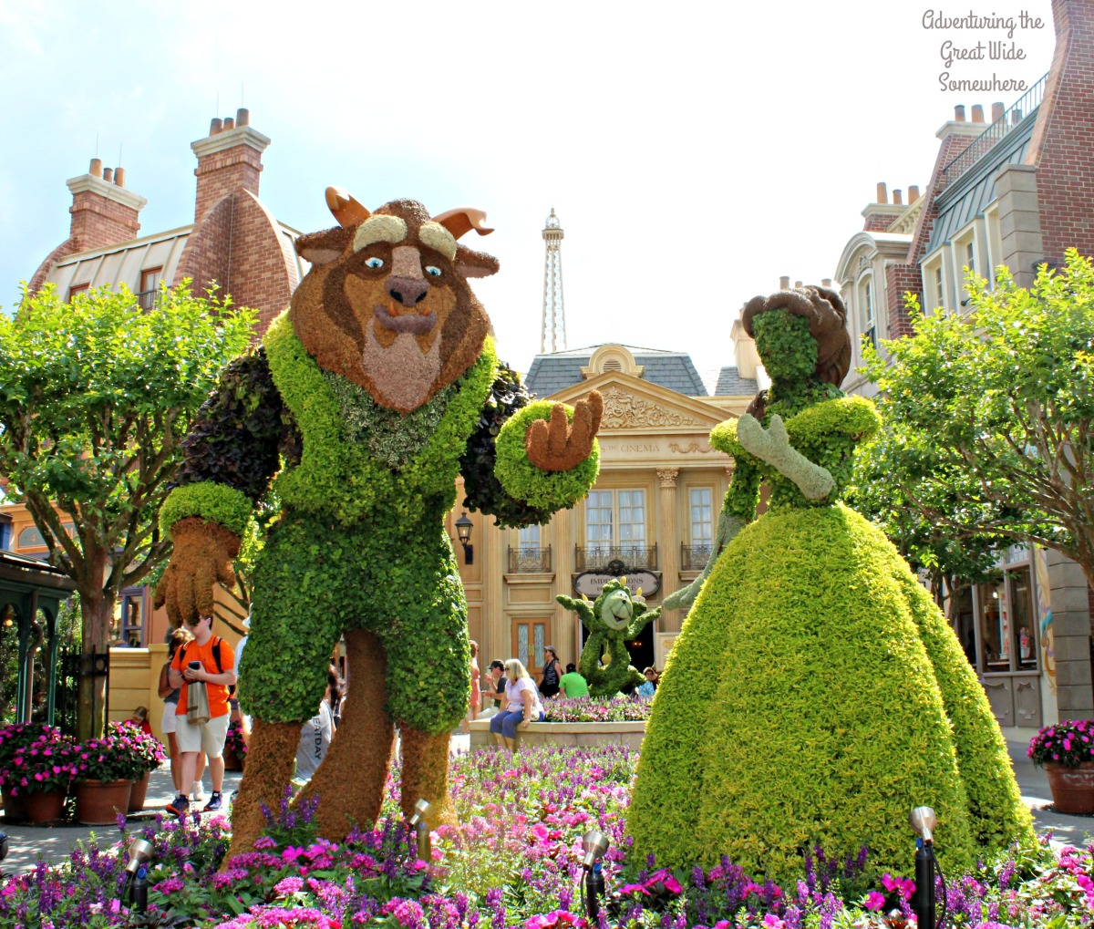 Beauty and the Beast Topiaries at Epcot's France Pavilion
