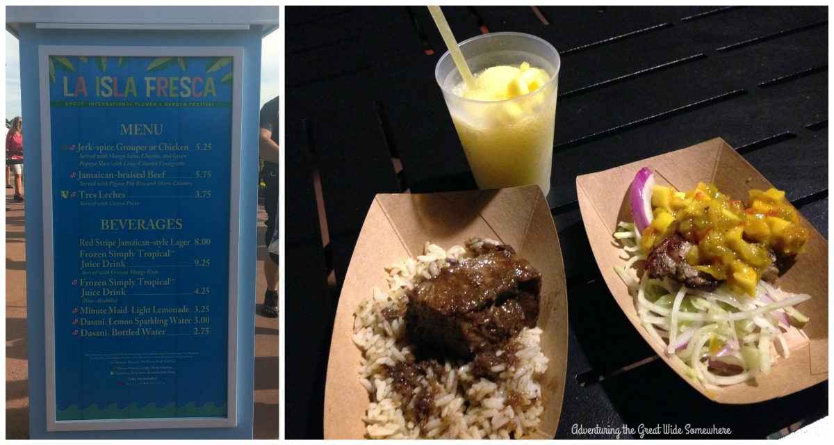 Braised Beef, Jerk Spice Grouper, and Simply Tropical Juice Drink at La Isla Fresca