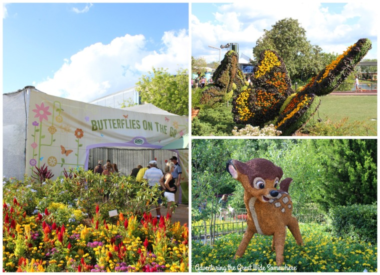 Butterfly Garden and Bambi Topiary at the Epcot Flower and Garden Festival