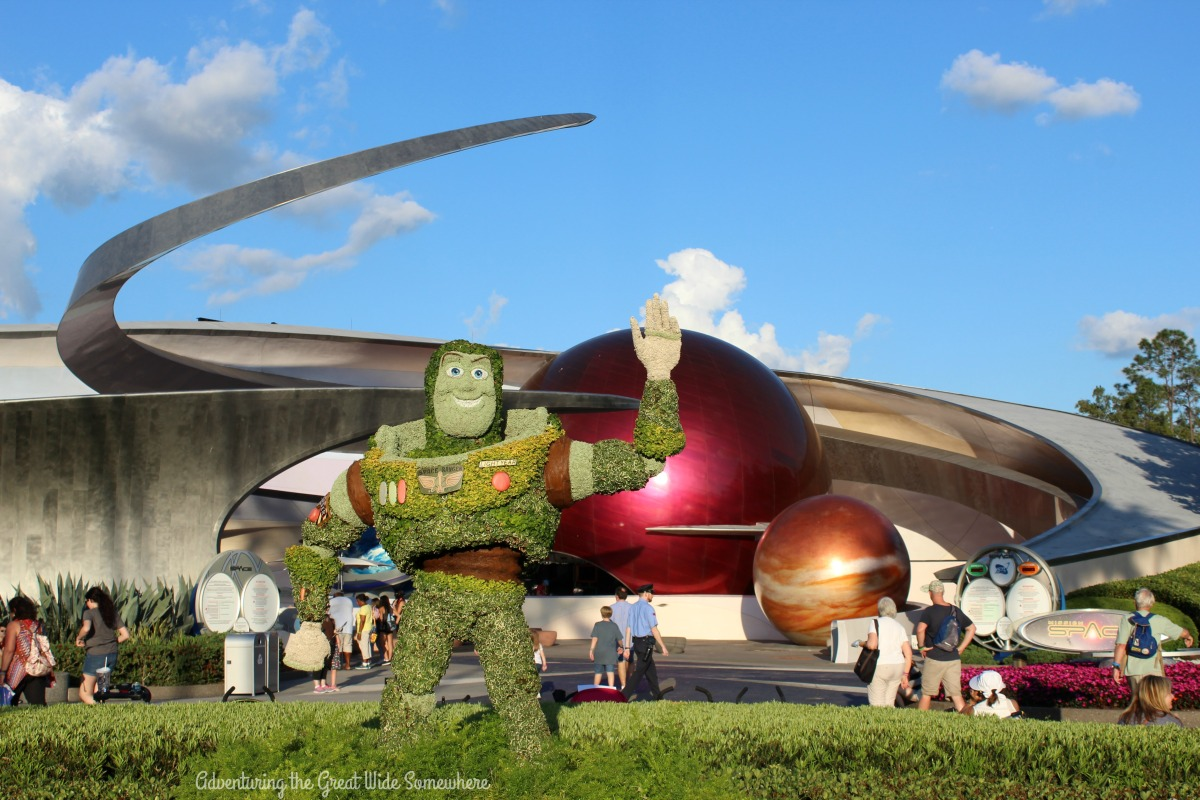 Buzz Lightyear Topiary in front of Mission Space at Epcot