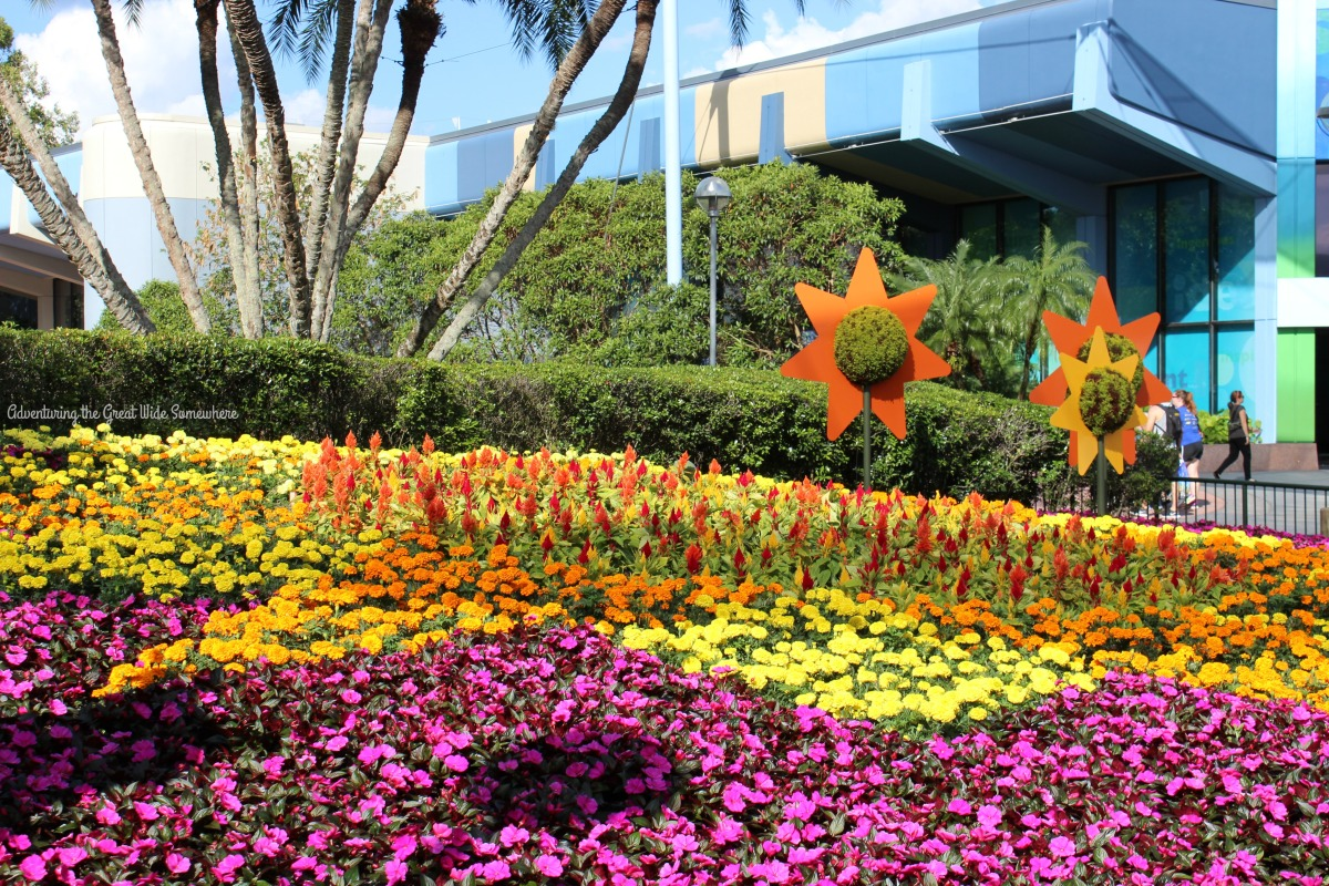 Flowers in Bloom Behind Spaceship Earth at the Epcot Flower and Garden Festival
