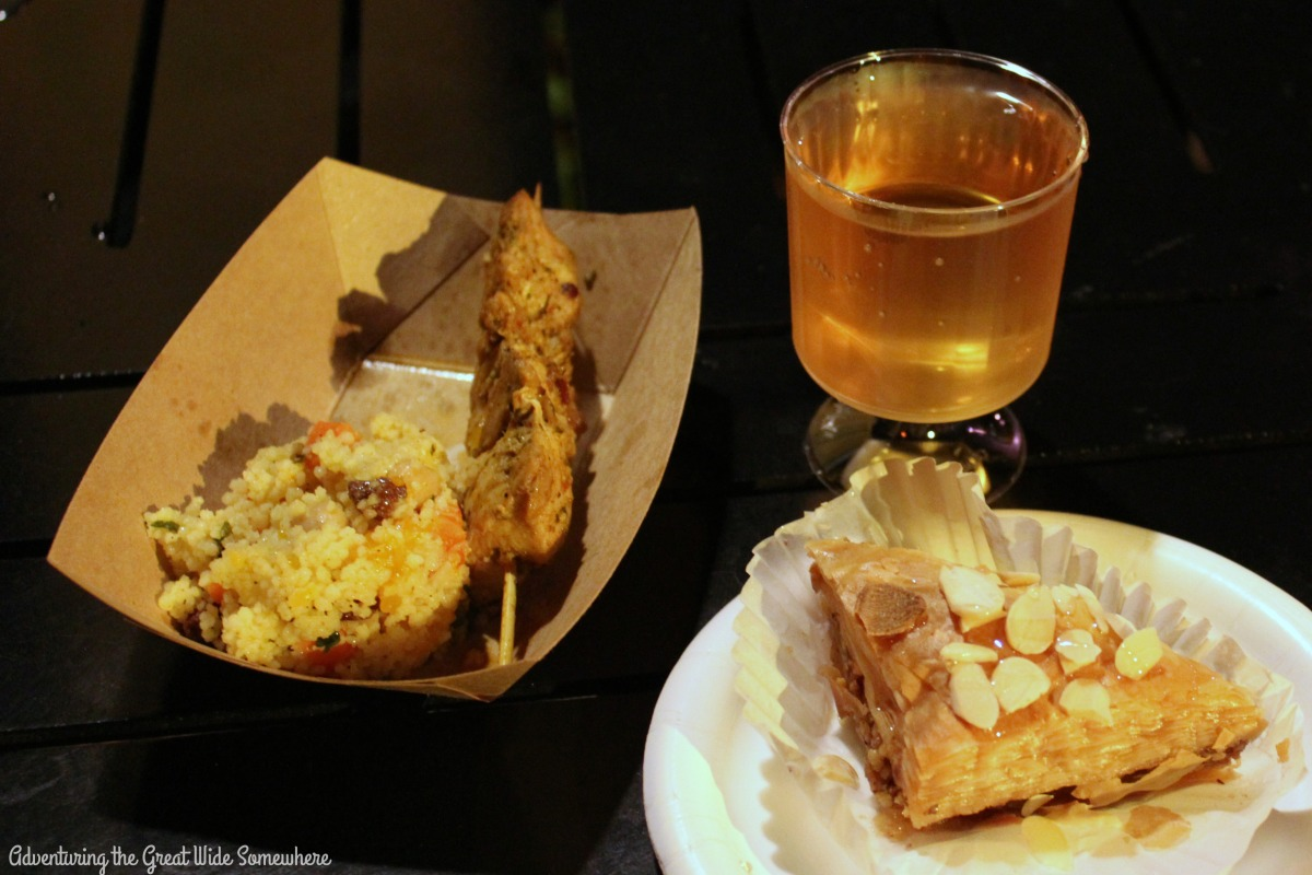 Harissa Chicken Kebab, Baklava and White Sangria at Epcot's Morocco Booth 2016