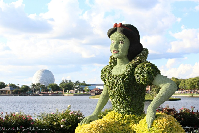 Snow White Topiary with Epcot Ball at the 2016 Epcot Flower and Garden Festival