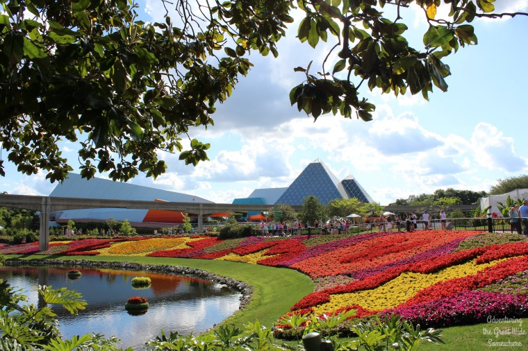View of Future World from the Butterfly Garden at the Epcot Flower and Garden Festival