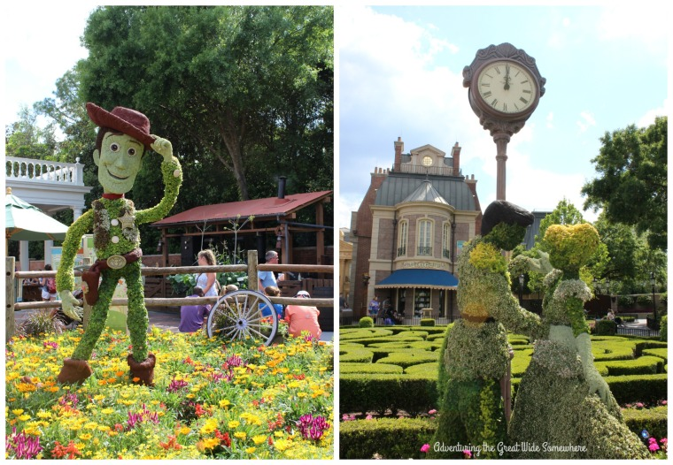 Woody and Cinderella Topiaries at the Epcot Flower and Garden Festival