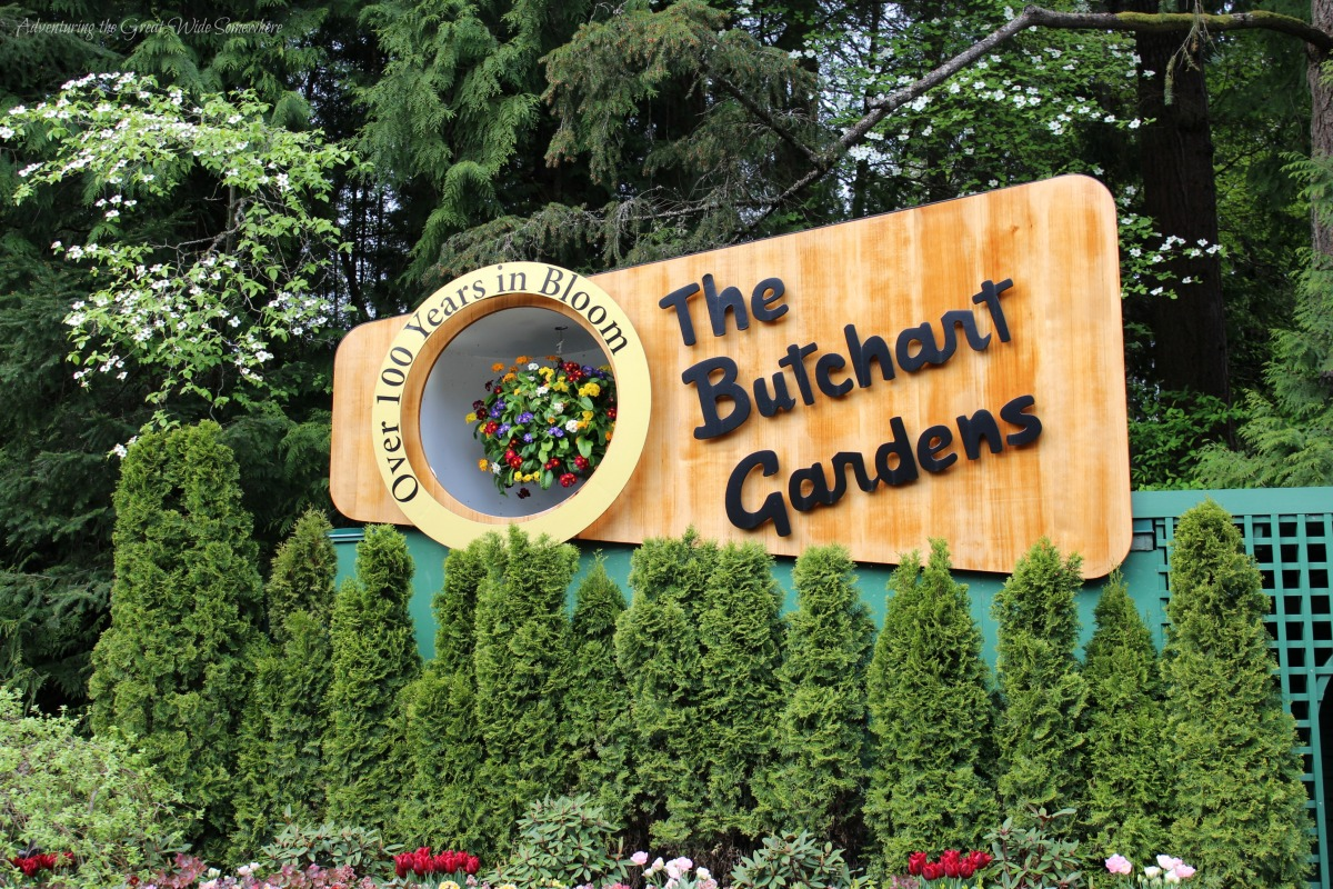 Entry Sign for the Butchart Gardens, Over 100 Years in Bloom