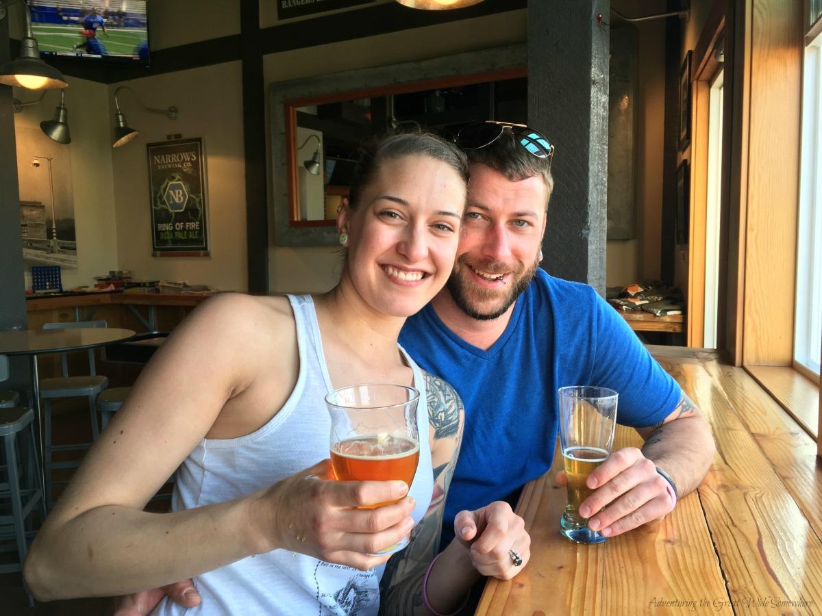 Jen and Gavyn at Tacoma Narrows Brewery, WA