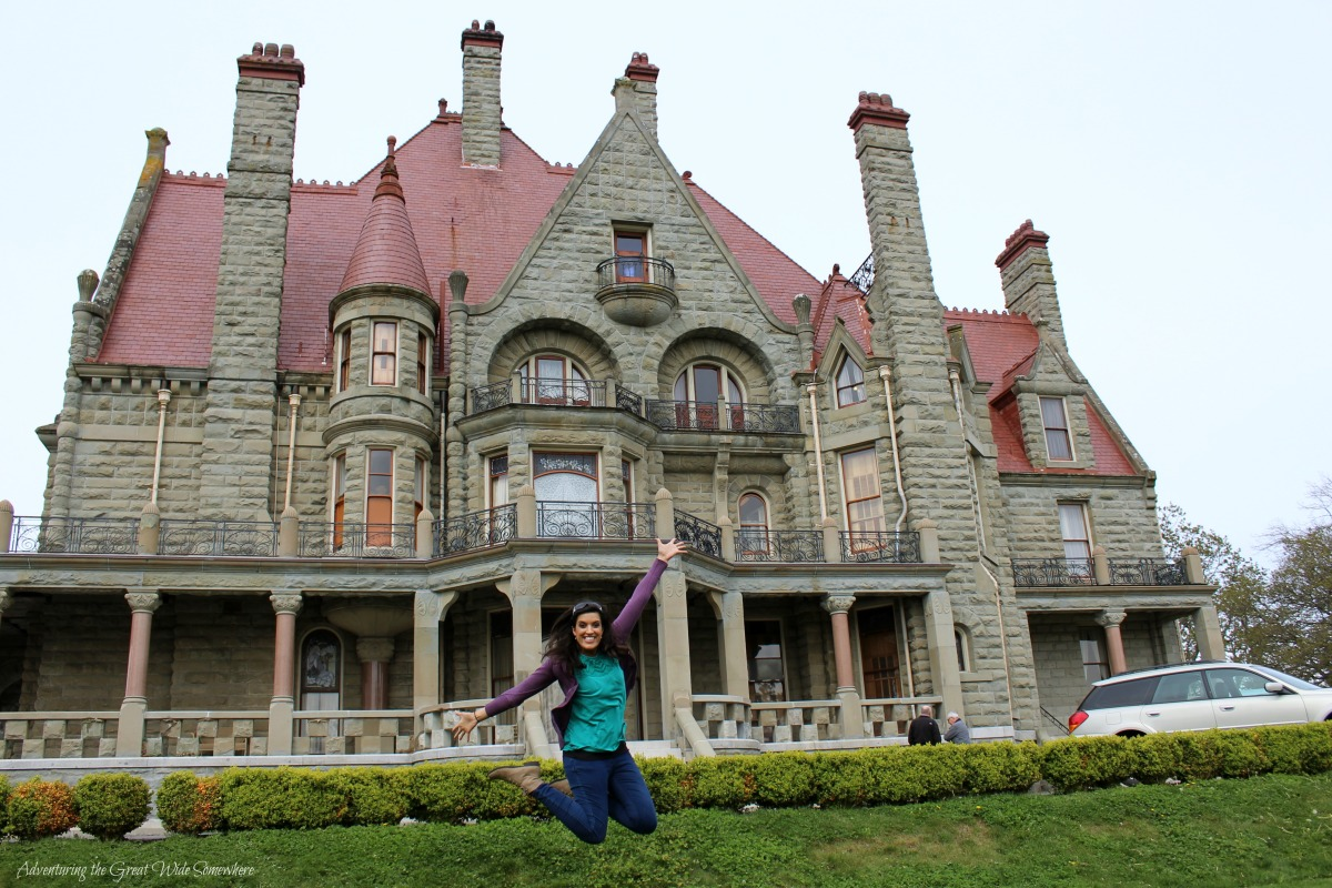 Nadya Jumping for Joy in front of Victoria's Craigdarroch Castle