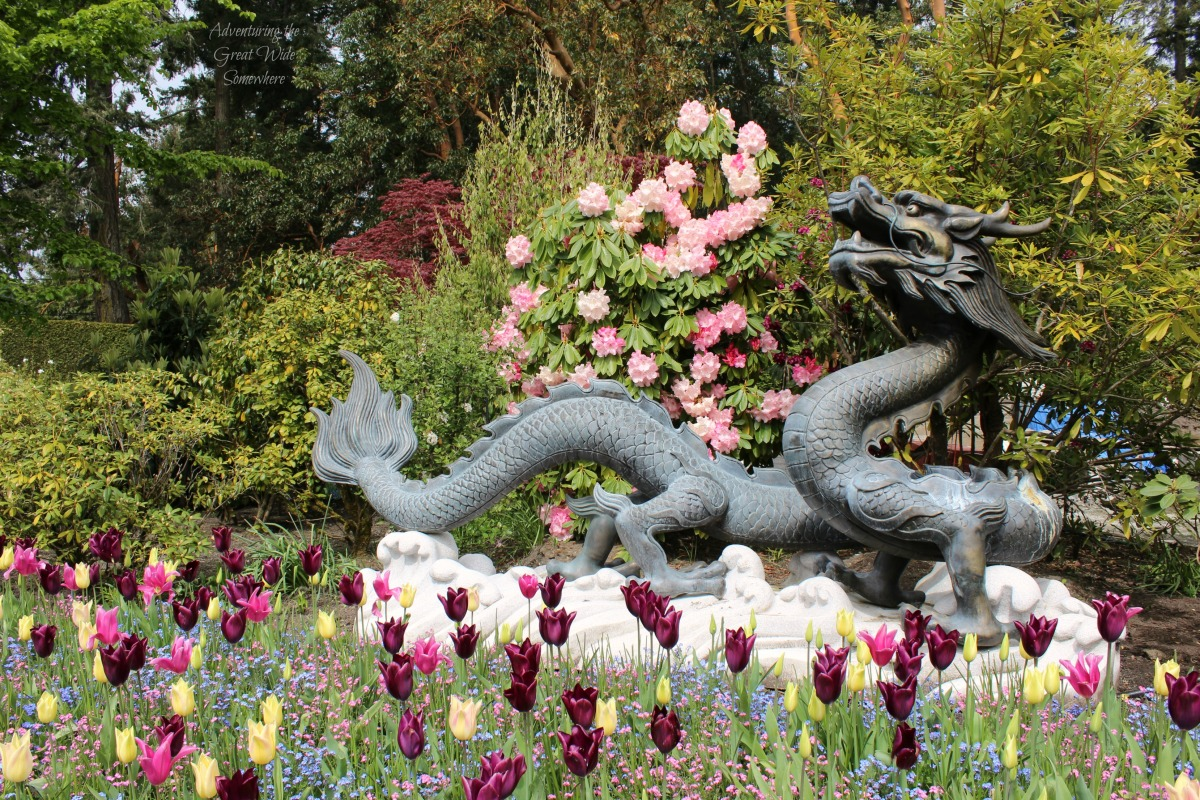 The Butchart Gardens Dragon Statue Removed from the Fountain Base