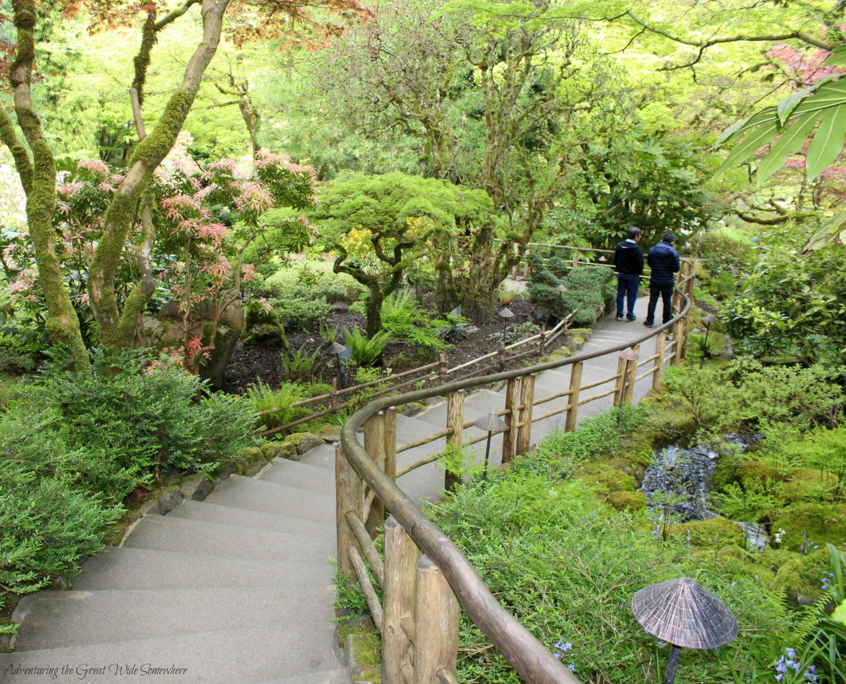 A Graceful Staircase Curves Through the Japanese Garden at Butchart Gardens