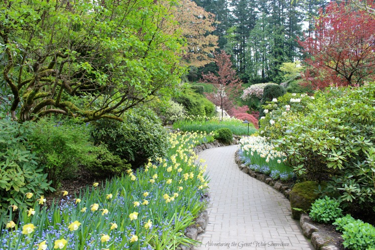 Flower Lined Path at the Butchart Gardens in British Columbia