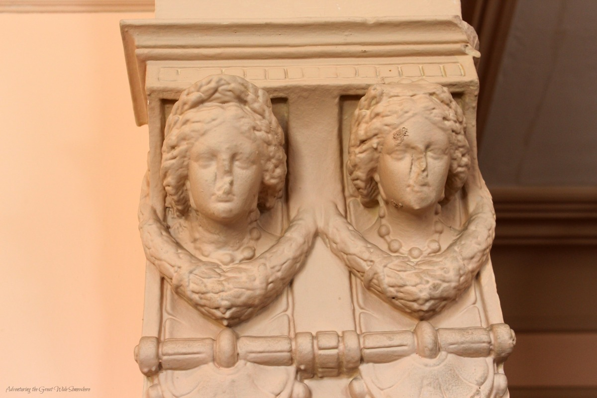 The Sculpted Faces of Angels Decorate a Column in Craigdarroch Castle