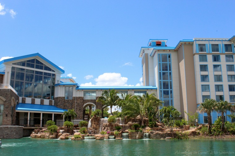 Exterior of the Loews Sapphire Falls Resort in Orlando, Seen From the Waterway